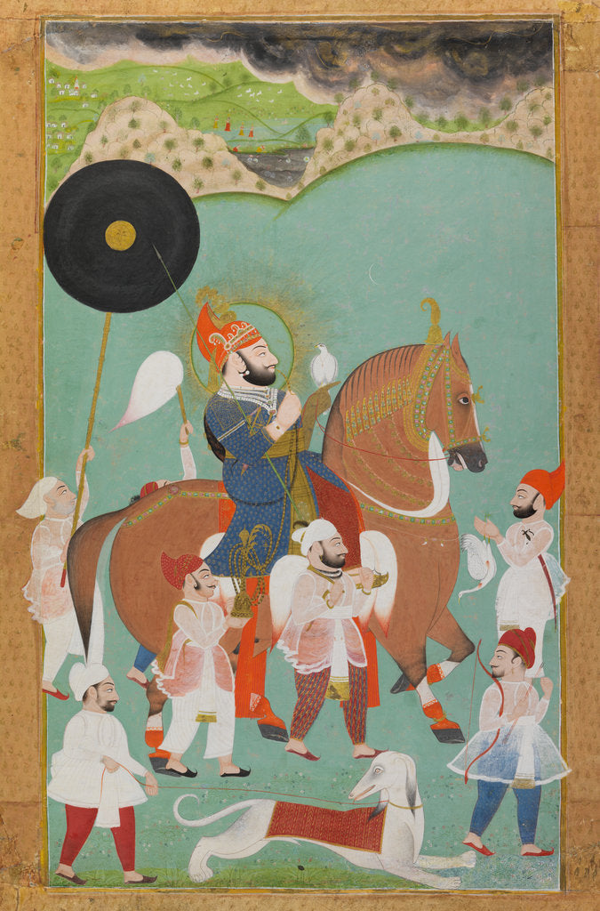 Detail of Maharana Bhim Singh of Mewar out hunting by Anonymous