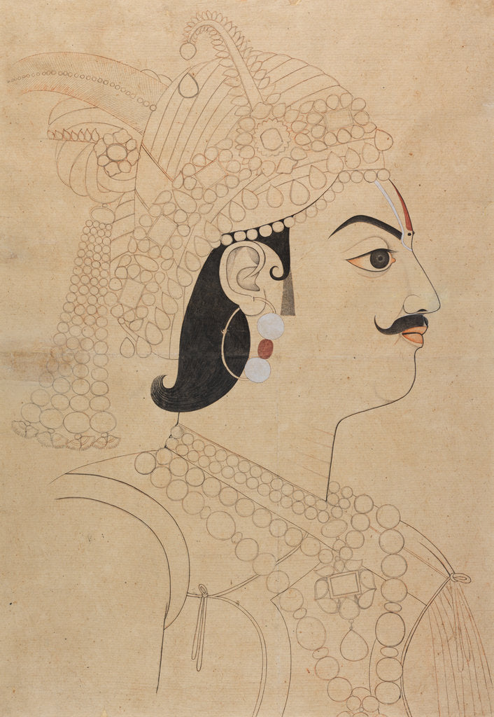 Detail of Maharaja Pratap Singh of Jaipur by Sahib Ram