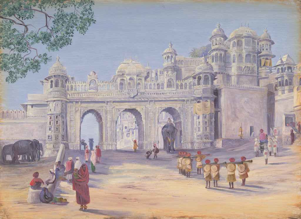 Detail of Gate of the Palace at Oodipore.  Janr. 1879 by Marianne North