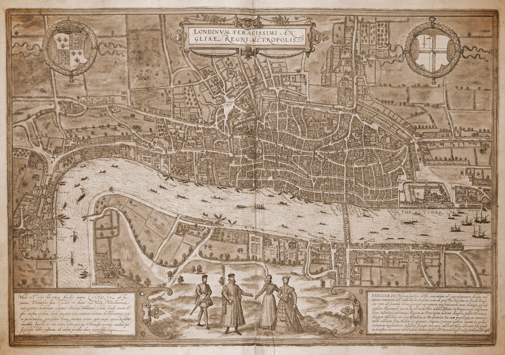 Detail of Map of London by Georg Braun