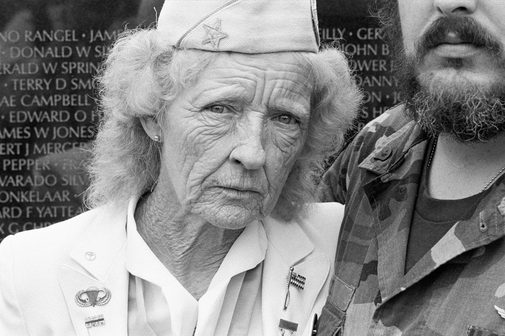 Detail of Evelyn Barbour visiting the Vietnam Veterans Memorial by Michael Katakis