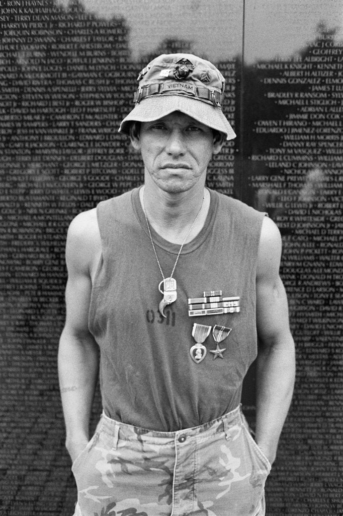 Detail of A decorated marine visits the Vietnam Veterans Memorial by Michael Katakis