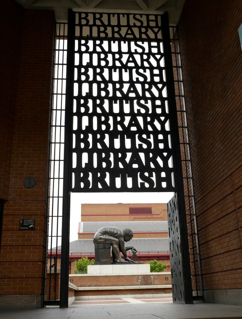 Detail of British Library portico and Newton statue by The British Library