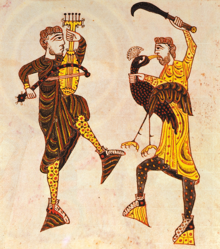 Detail of Dancing men with a sword and bird by Anonymous