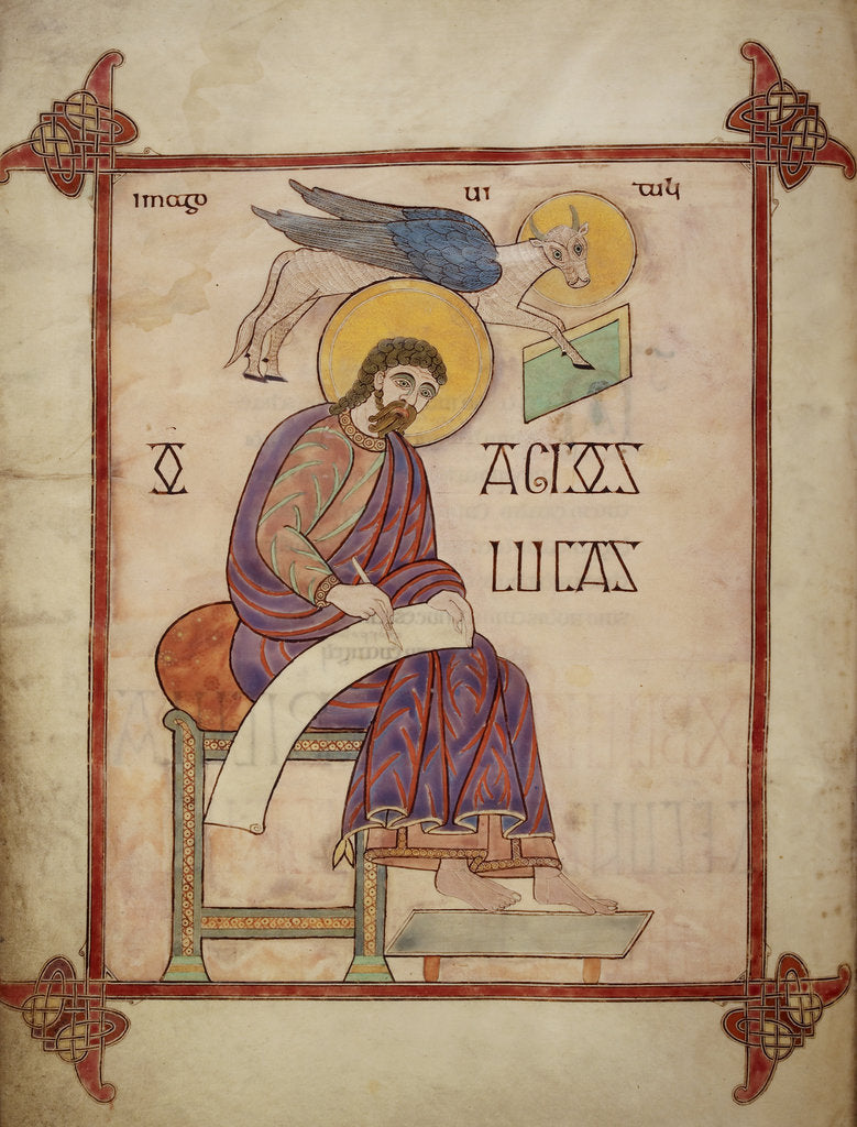 Detail of St Luke in the Lindisfarne Gospels by Eadfrith
