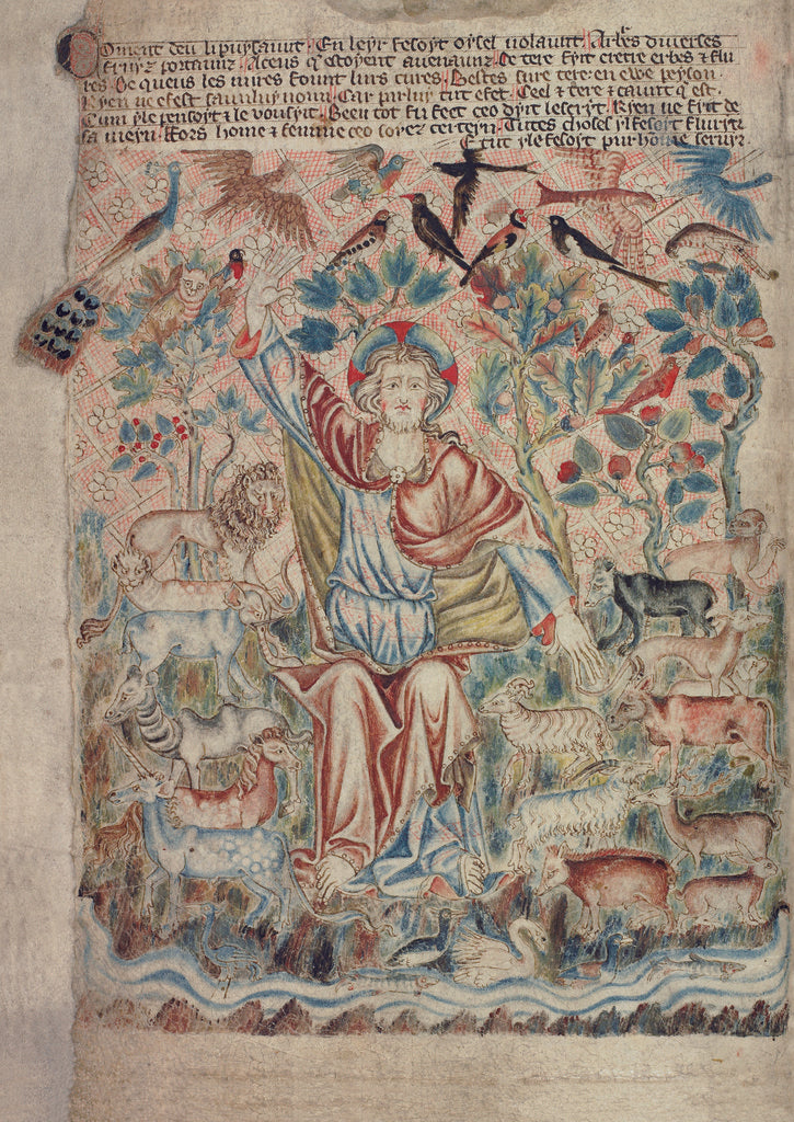 Detail of God the Creator with birds and beasts by Anonymous