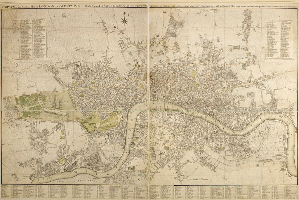 Detail of Cary map of London and Westminster, 1799 by John Cary