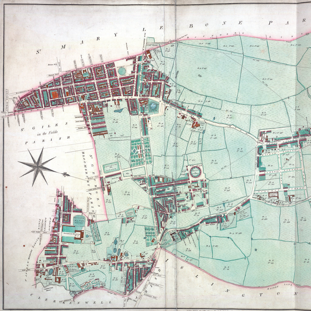 Detail of Thompson map of the parish of St Pancras, 1804 by J Thompson