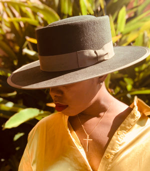 Olive Green Wide Brim Hat