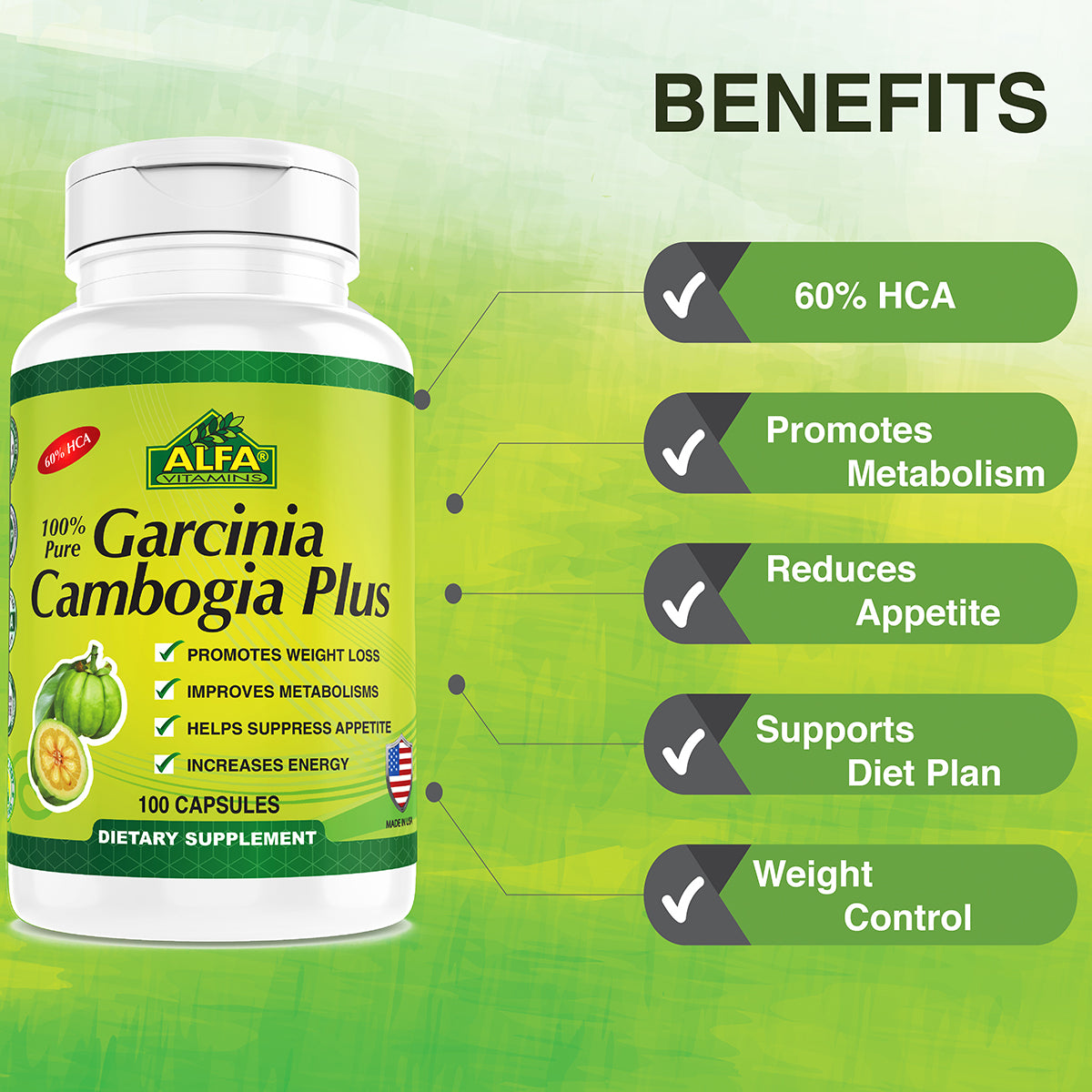Natural Garcinia Cambogia Weight Loss Help 60 Hca Alfa