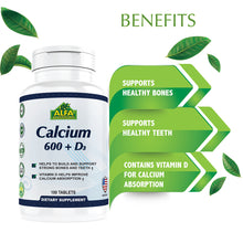 Calcium 600 mg + Vitamin D - 100 tablets