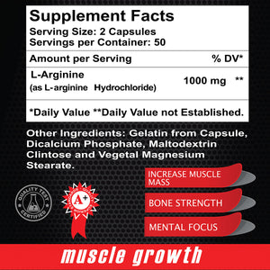 Maximum L Arginine 1000 mg - Muscle Builder - 100 capsules