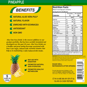 ALOE ZONE Pineapple Flavor - 34 oz bottle - 9 Pack