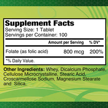 Folic Acid 800 mcg - 100 tablets