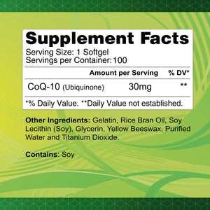 CoQ-10 30 mg - 100 softgels