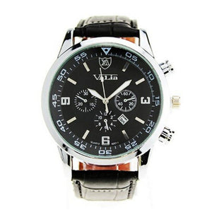 Quartzsiness Mens Military Auto Date Leather Watches New - Watchetto