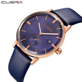 Cuena Fashion Men Casual Checkers Quartz Analog Wristwatches For Male Clock Leather Mens Watches Relogio Masculino #xj11 - Watchetto