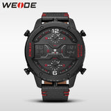 Weide Genuine Multiple Time Zone Big Dial Watch Quartz Men Leather Sports Watches Analog Relogios Waterproof Digital Alarm Clock - Watchetto