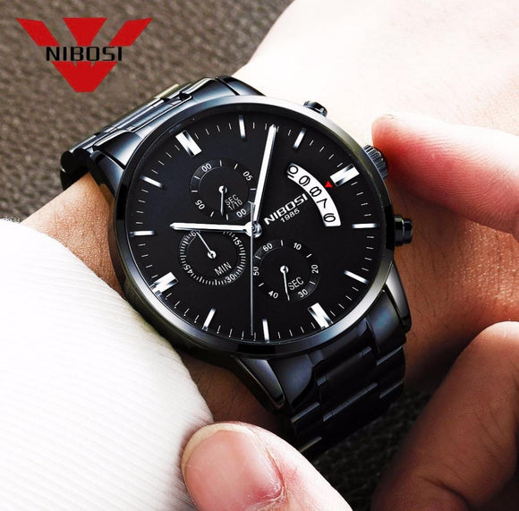 Nibosi William Mens Watch Luxury Stainless Steel Quartz - Watchetto