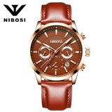 Mens Fashion Business Quartz Watch With Leather Strap Nibosi Chronograph Waterproof Date Display Analog Sport Wrist Watches - Watchetto