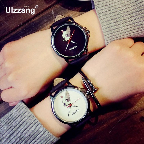 ULZZANG Women's Watch Casual Leather Strap Cute MOCCA Dog Leather Analog Quartz