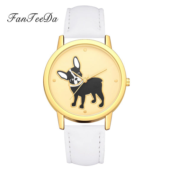 FanTeeDa Women's Watch Casual Leather Strap Simple Dog Pattern Analog Quartz - Watchetto