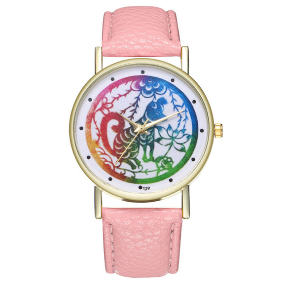 LASPERAL Women's Watch Casual Leather Strap Colorful Dog Analog Quartz