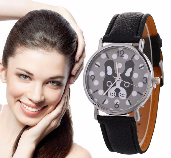 SUSENSTONE Women's Watch Casual Sport Leather Band Dog Pattern Quartz