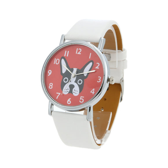 OKTIME Women's Watch Casual PU Leather Strap Lovely Cute Dog Pattern Analog Quartz