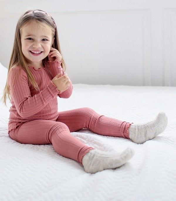 Shirring Long Sleeve Pajama Set- Dusty Pink