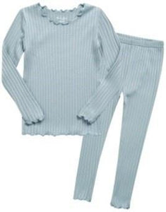 Shirring Long Sleeve Pajama Set- Mint