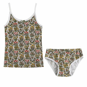 Flower Tank & Underwear Set - Green