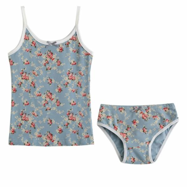 Flower Tank & Underwear Set - Mint