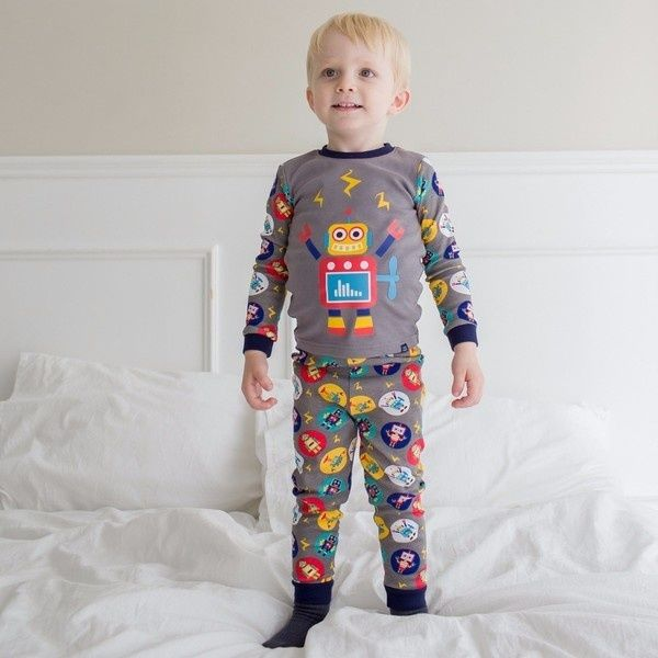 Mega Robot Long Sleeve PJ's- Grey
