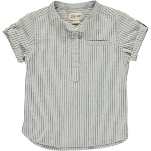 Round Neck Shirt- Aqua & Red Stripes