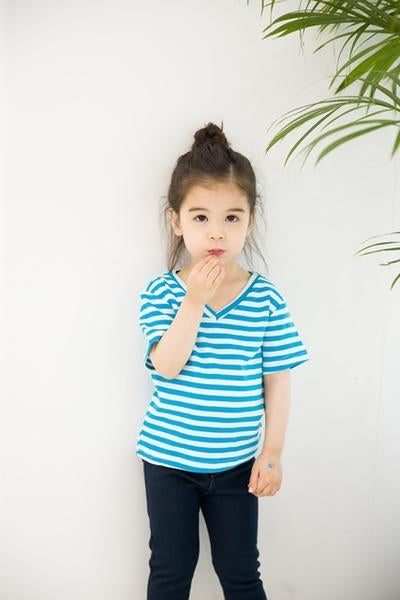Short Sleeve Vneck Tshirt - Blue Stripe
