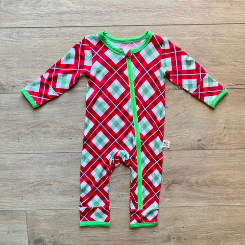 Holiday Coverall- Holly Plaid