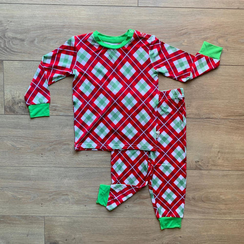 Holiday Long Sleeve Set- Holly Plaid