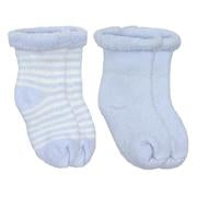 Blue Solid / Striped Socks Terry (0-3m) 2-Pack