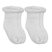 White Solid / Striped Socks Terry (0-3m) 2-Pack