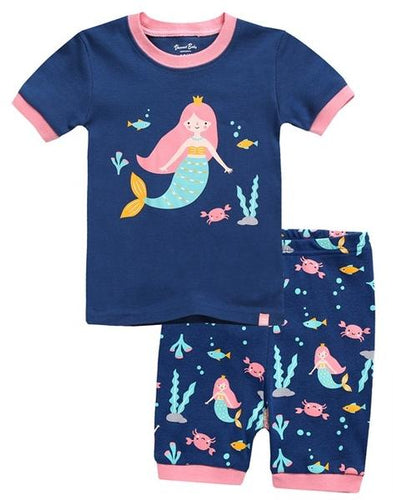 Mermaid Navy Short Sleeve Pajama Set
