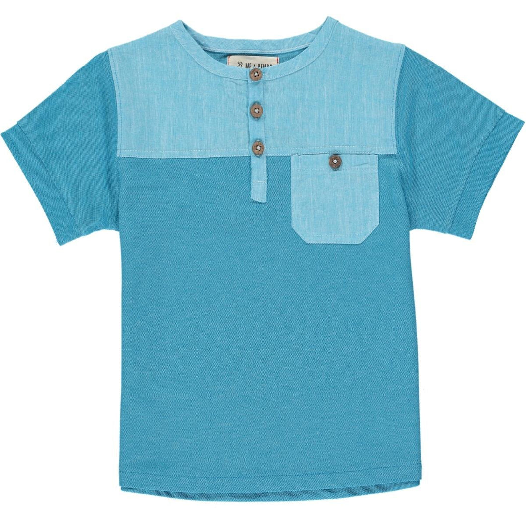 April PRE-ORDER Boardwalk Pique Henley - Aqua