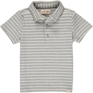 Flagstaff Polo- Grey & White Stripe