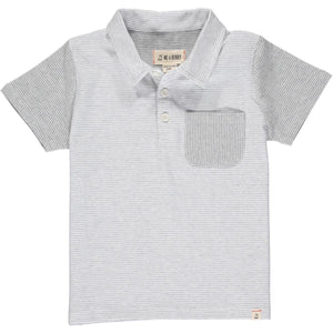 Halyard Polo- Grey & White Micro Stripe