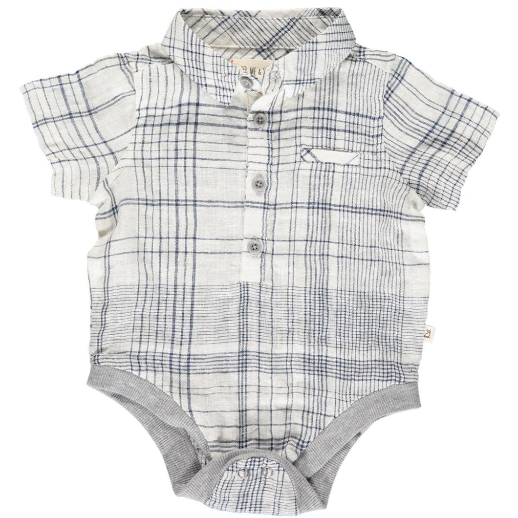April PRE-ORDER Helford Short Sleeved Onesie - Whit/Navy Plaid