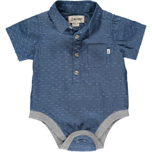 Helford Short Sleeved Onesie - Pulled Chambray