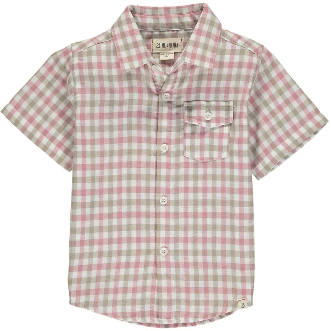 Gingham Short Sleeve Shirt- Pink & White
