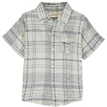 Short Sleeve Shirt- White & Navy Plaid