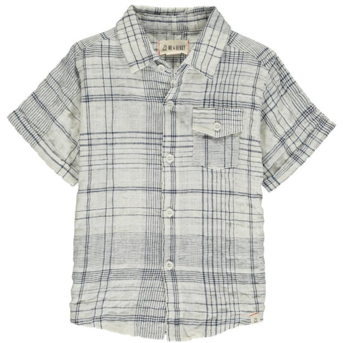 Newport Short Sleeve Shirt- White & Navy Plaid