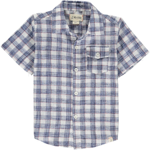 April PRE-ORDER Newport Short Sleeved Shirt - Blue/red Madras Plaid